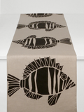 Dermond Peterson Fisk Table Runner Black on Natural Linen