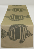 Dermond Peterson Fisk Table Runner Gray on Natural Linen