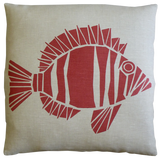 Dermond Peterson Fisk Pillow Red on Natural Linen
