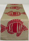 Dermond Peterson Fisk Table Runner Red on Natural Linen