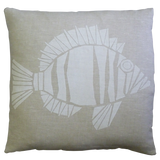 Dermond Peterson Fisk Pillow White on Natural Linen