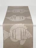 Dermond Peterson Fisk Table Runner White on Natural Linen