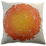 Dermond Peterson Hydrangea Pillow Clementine on Natural Linen