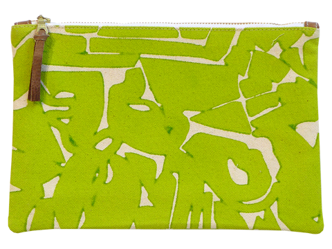 Dermond Peterson Large Collage Pouch in Chartreuse