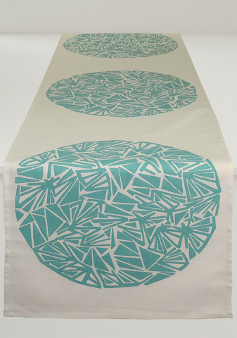 Dermond Peterson Aqua Mångata Table Runner on White Linen. Swedish. Moon. Aqua. Circle. Lunar Print. Made in Milwaukee.