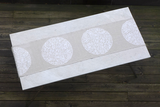 Dermond Peterson White Mångata Table Runner on Natural Linen. Swedish. Moon. White. Circle. Lunar Print. Made in Milwaukee.