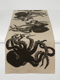 Dermond Peterson Octopus Table Runner Black on Natural Linen