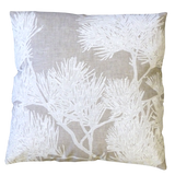 Dermond Peterson Pine Bough Pillow in White on Natural Linen