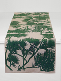 Dermond Peterson Pine Bough Table Runner in Garden Green on Natural Linen