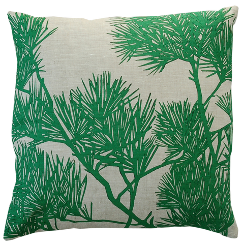 Dermond Peterson Pine Bough Pillow on Natural Linen in Garden Green
