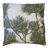 Dermond Peterson Moss Green Pine Bough Pillow on Natural Linen
