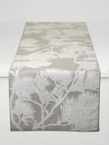 Dermond Peterson Pine Bough Table Runner in White on Natural Linen