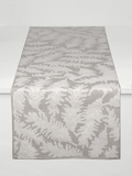 Dermond Peterson Pine Cone Table Runner in White on Natural Linen