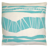 Dermond Peterson Aqua Randig Stripe Pillow. Oceanic. Skandia. Made in Milwaukee. Scandinavian Stripe. Block Print.