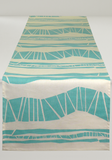 Dermond Peterson Aqua Randig Stripe Runner on White Linen. Table Linen. Table Runner. Aqua. Ocean. Stripe. Scandinavian