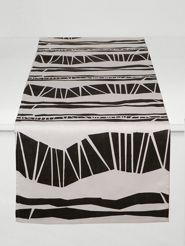 Dermond Peterson Randig Table Runner in Black on White Linen