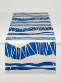Dermond Peterson Randig Table Runner in Blue on White Linen