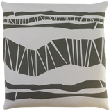 Dermond Peterson Randig Pillow in Gray on White Linen