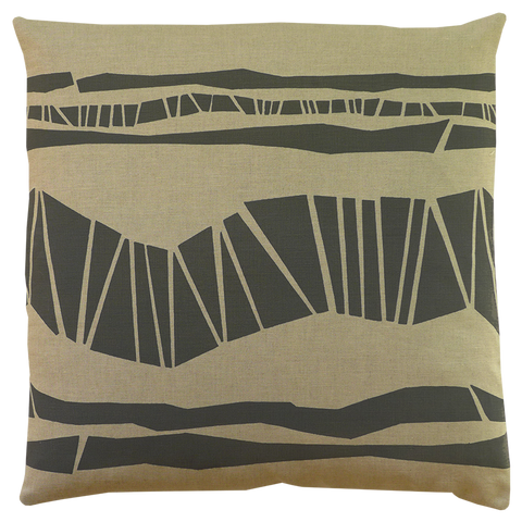 Dermond Peterson Randig Pillow in Gray on Natural Linen