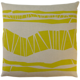 Dermond Peterson Randig Pillow in Mustard on Natural Linen
