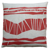 Dermond Peterson Randig Pillow Red on Natural Linen