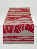 Dermond Peterson Randig Table Runner in Red on Natural Linen
