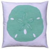 Dermond Peterson Aqua Sand Dollar Pillow in White Linen. Sand Dollar. Pillow. Coastal. Beach Home. Beach Cottage.