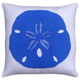 Dermond Peterson Blue Sand Dollar Pillow on White Linen. Coastal Decor. Beach Classic. Cottage. Sand Dollar. Block Print. Made in Milwaukee,