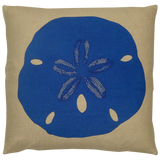 Dermond Peterson. Blue Sand Dollar. Natural Linen. Block Print. Seaside. Coastal.
