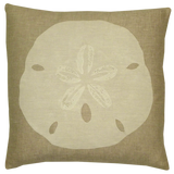 Dermond Peterson. White Sand Dollar. Sand Dollar. Seaside. Coastal. Natural Linen. Pillow. Beach Home.