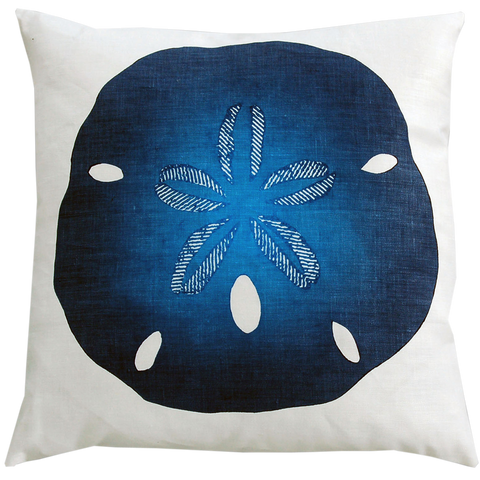 Dermond Peterson Sand Dollar Pillow in Indigo on White Linen