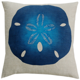 Dermond Peterson Sand Dollar Pillow in Indigo on Natural Linen