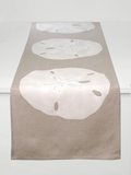 Dermond Peterson Sand Dollar Table Runner White on Natural Linen