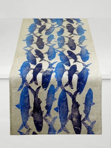 Dermond Peterson Sardine Table Runner Indigo on Natural Linen