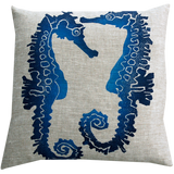 Dermond Peterson Sea Horse Pillow Indigo on Natural Linen