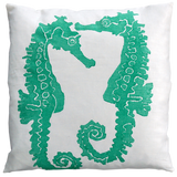 Dermond Peterson Sea Horse Pillow Turquoise