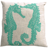 Dermond Peterson Sea Horse Pillow Turquoise on Natural Linen