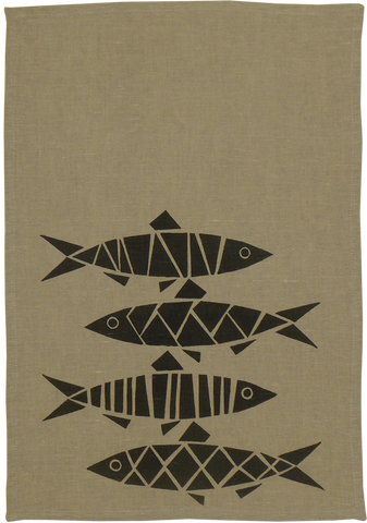 Dermond Peterson Sill Kitchen Towel. Scandinavian Herring. Swedish Herring. Natural Linen. Black. Block Print. Made in Milwaukee.