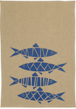 Dermond Peterson Blue Sill Kitchen Towel. Natural Linen. Block Print. Swedish Herring. Blue.