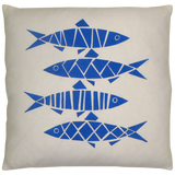 Dermond Peterson Blue Sill Pillow on White Linen
