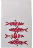 Dermond Peterson Red Sill Herring Kitchen Towel on White Cotton Twill.