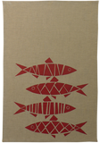 Dermond Peterson Red Herring Print, Sill, Block print on Natural Linen Kitchen Towel