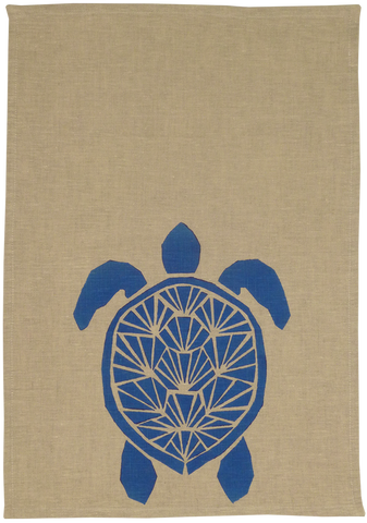 Dermond Peterson Sköldpadda Kitchen Towel. Natural Linen. Blue. Block Print. Skandia Collection. Scandinavian