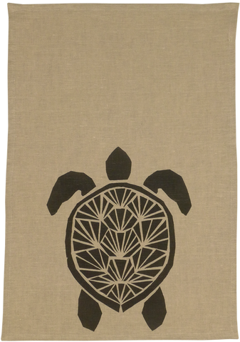 Dermond Peterson. Black Sköldpadda Kitchen Towel. Natural Linen. Black.