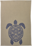 Dermond Peterson Sköldpadda Kitchen Towel. Natural Linen. Swedish Blue. Block Print. Skandia Collection. Scandinavian