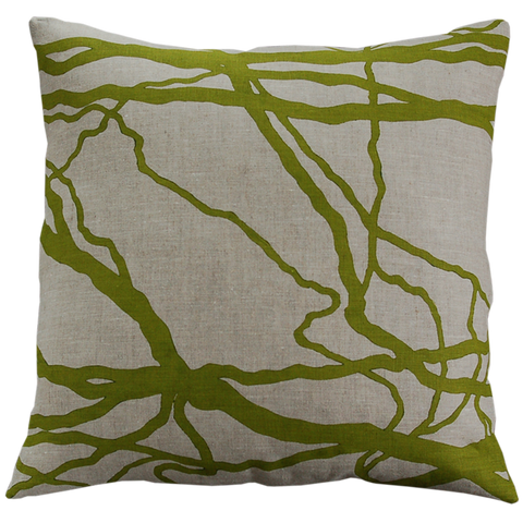 Dermond Peterson Vine Pillow Olive on Natural Linen