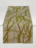 Dermond Peterson Vine Table Runner Olive on Natural Linen