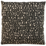 Dermond Peterson Words for Black Pillow on Natural Linen