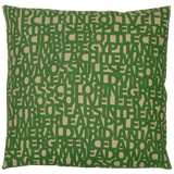 Words for Green on Natural Linen. Dermond Peterson Pillow. Block Print. Green. Green Pattern. Made in Milwaukee. Natural Linen. Made in Milwaukee.