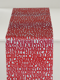 Dermond Peterson Words for Red Table Runner on White Linen
